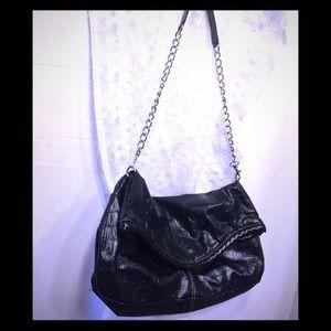 Candie's Alligator print envelope bag in black l